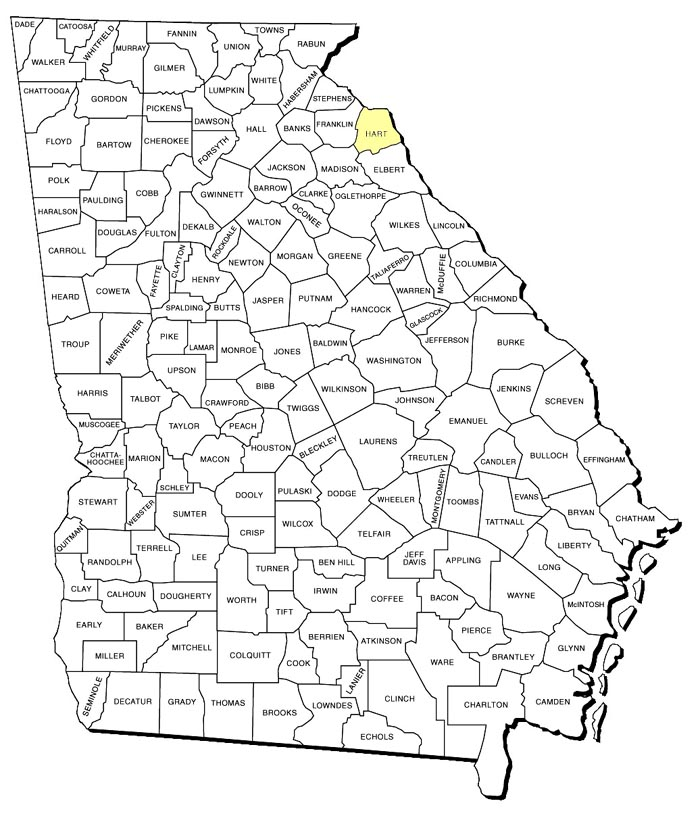 Georgia County Map Hart County - County map of georgia
