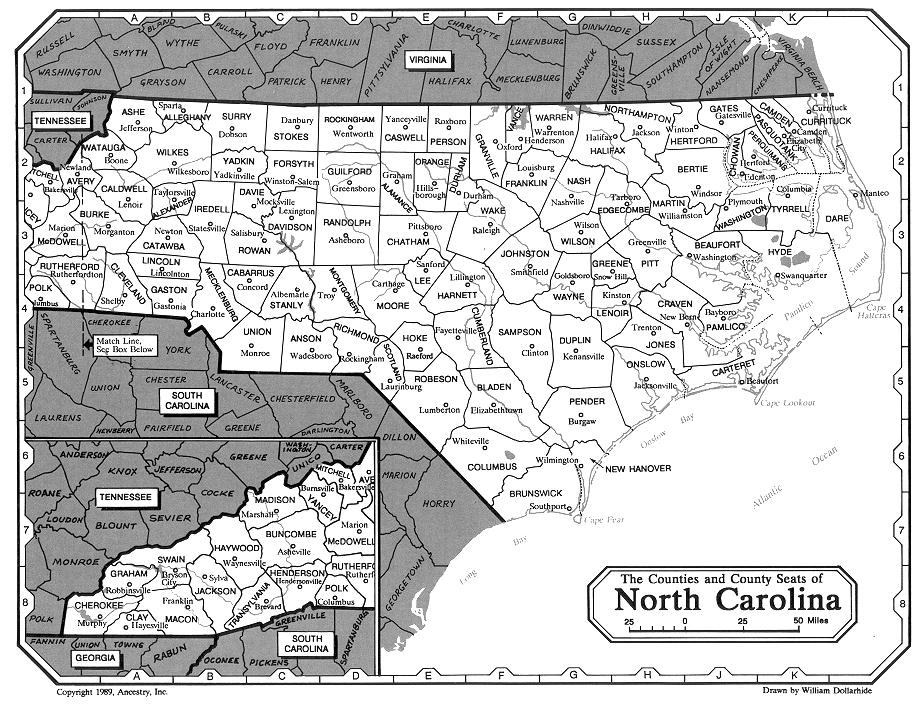 North Carolina Counties Map - County map of north carolina